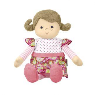 Stoffpuppe 33 cm mit rosa Kleid