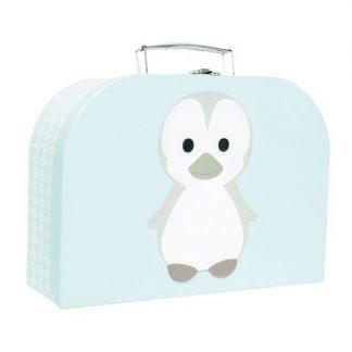 niedlicher, hellblauer Koffer mit Pinguinapplikation