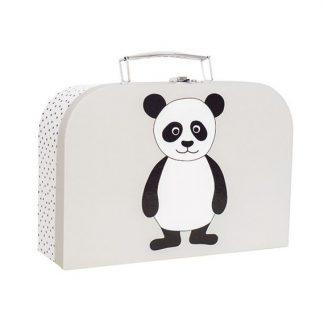 niedlicher, hellblauer Koffer mit Pandaapplikation