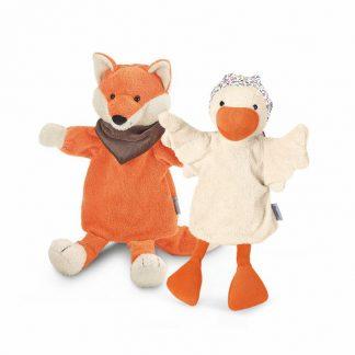 Handpuppen Gans und Fuchs im Geschenkkarton