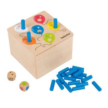 Würfelspiel Holzbox Stiftchen versenken