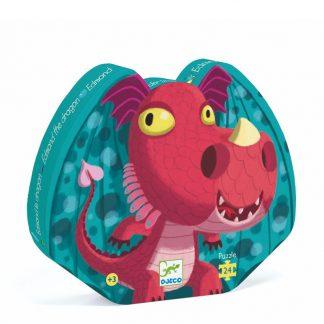 24-teiliges Puzzle mit niedlichen, roten Drachen in schöner Silhouettebox