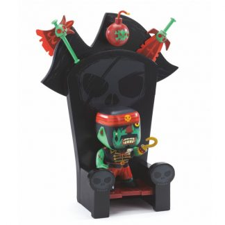 Spielfigur Pirat mit Thron, Bombe, Messer und Hacke