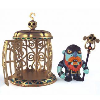 Spielfigur Pirat mit Zepter und goldenen Käfig