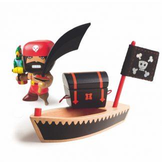 pielfigur Pirat mit Säbel, Papagei, Schatztruhe und Piratenboot