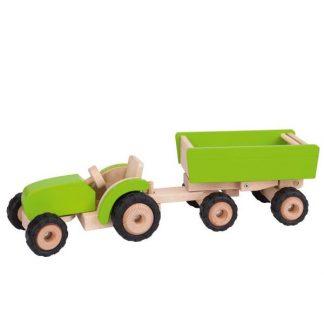 Grüner Holztraktor mit Anhänger