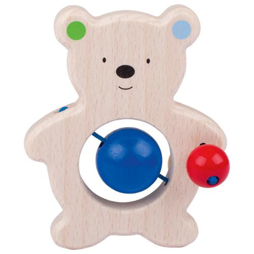 Greifling aus Holz Bär mit Perlen und Kugeln