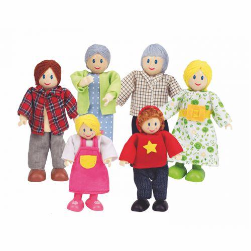 sechs Biegepüppchen für das Puppenhaus