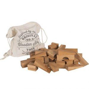 50 Stück Holzbausteine im praktischen Baumwollbeutel