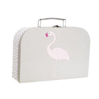 niedlicher, hellblauer Koffer mit Flamingoapplikation