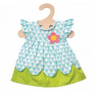 türkis-grünes Puppenkleid mit pinker Blume