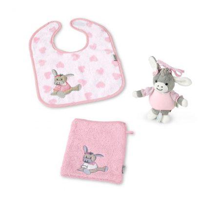 rosa Lätzchen, Waschhandschuh und Minispieluhr - rosa Eselchen