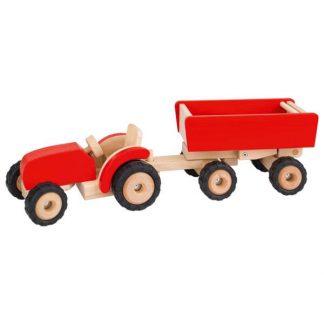 Roter Holztraktor mit Anhänger