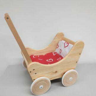 Puppenwagen Holz mit rot