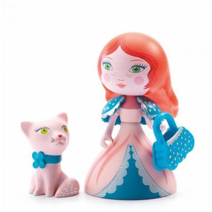Spielfigur Prinzessin mit abnehmbaren Zauberstab, Handtasche und Kätzchen