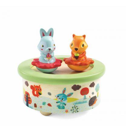 magnetische Spieluhr mit Häschen und Eichhörnchen