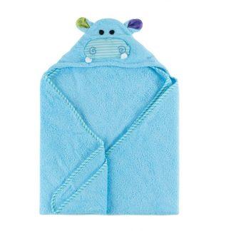 blaues Kapuzenbadetuch mit Hippomotiv