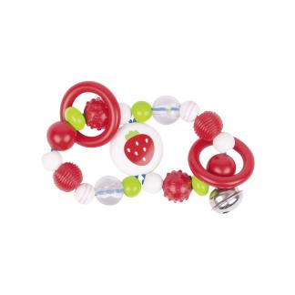 Greifling aus Kunststoff mit Ringen und Glöckchen Erdbeer-Motiv