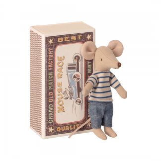 Maileg Maus mit gestreiften Pulli und Hose in Box