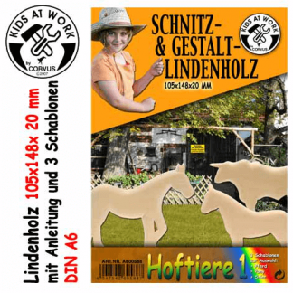 Lindenholzblock Schnitzholz Schablonen Bauernhoftiere