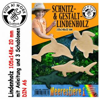 Lindenholzblock Schnitzholz Schablonen Meerestiere
